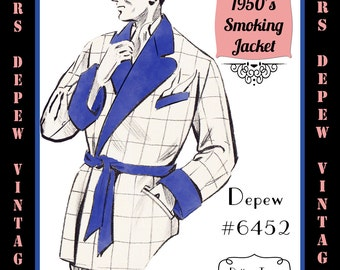 Menswear Vintage Sewing Pattern 1950's Men's Smoking Jacket in Any Size Depew 6452 - Plus Size Included -INSTANT DOWNLOAD-