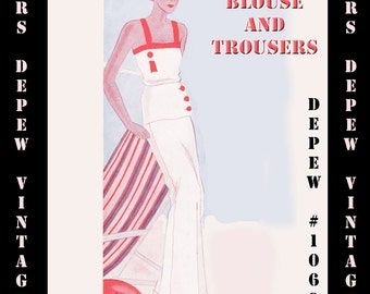Vintage Sewing Pattern 1930's Blouse and Trousers Beach Pajama in Any Size Depew 1069 - PLUS Size Included -INSTANT DOWNLOAD-