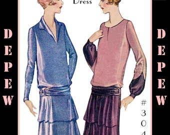 Vintage Sewing Pattern Reproduction Ladies' 1920's Long Sleeve Dress #3047 - INSTANT DOWNLOAD