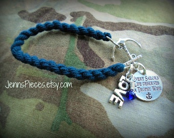 BRACELET: Every Sailors life deserves a trophy wife Navy Blue Boot Band Blouser Bracelet w/anchor connector  SSG151 Navy usn Army Marines