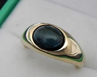 AAA Blue green Indicolite Tourmaline cabochon   9x7mm  1.70 Carats   14k yellow gold ring  8 grams 0145 MMM