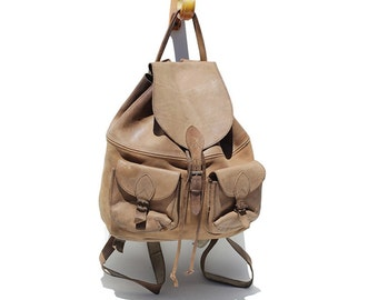 Vintage Sandy Cove Tan Leather Backpack / Leather Backpack