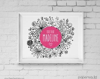 Floral Nursery Art Print, Custom Name, Personalized Digital Wall Art Print, Modern flowers, Kids Room, Digital DIY Printable File, Item 179