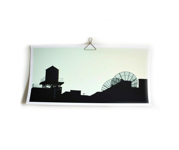 Large photograph New York Brooklyn art skyline architectural water tower antennas 10 x 20 in