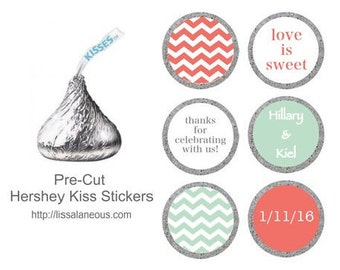 88 Hershey Kiss Labels  - Bridal Shower Favor - Coral and Mint Stickers for Candy Kisses