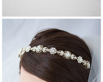 Wedding Headband Wedding Hair Accessories Gold Bridal Headpiece Crystal Headband Tiara Vintage KATRINA