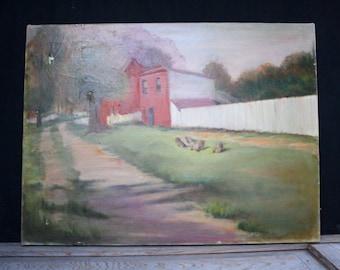 vintage. antique. Original oil acrylic canvas painting. landscape. street. tree. chickens. home decor. large. 12 x 24