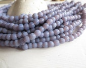 Small lilac round lampwork glass beads , purple grey  opaque matte ,  irregular roundish spacer Indonesian 3 to 5mm / 20 in strand 6A2-1