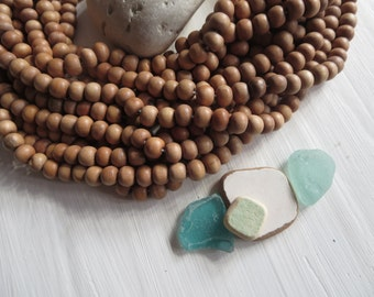 beige round wood beads , painted light brown , finished wood , small round wooden bead, exotic natural material Indonesian 50 beads  5A22-4