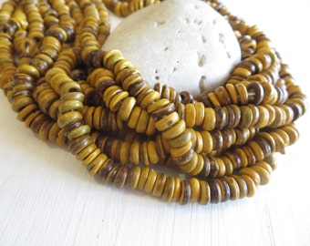 small coconut beads ,small yellow rondelle beads, painted discs, exotic spacer washer  7 to 8mm  in diameter  / 12 inches strand  - 6A15-10