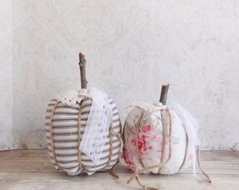 Shabby Cottage Chic Blue, Cream, and Roses Tattered Fall Holiday Small Fabric Pumpkins Set of 2
