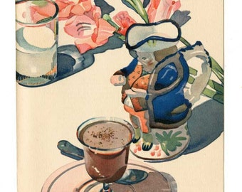 Vintage 1930 Chocoholics Illustration for the Vintage Kitchen Chocolate Pudding with a Toby Jug Pitcher, Baker's Cocoa Recipe Print