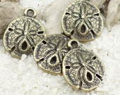 Antique Brass Charms Sand Dollar Charms TierraCast Brass Oxide Bronze Charms Sanddollar Pendants Beach Charms Summer Ocean Sea Charm (P1294)