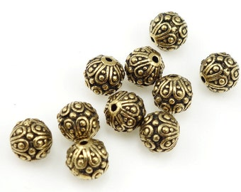 Gold Beads TierraCast CASBAH Antique Gold Bali Beads Gold Bali Style Jewelry Beads for Jewelry Making for Gold Jewelry Supplies  (P14)