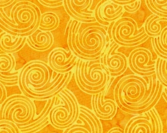 Curlicues Batik Yellow Marcus Brothers Fabric 1 yard