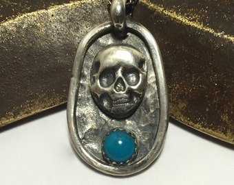 Silver Skull Pendant Sterling Silver Necklace with Turquoise