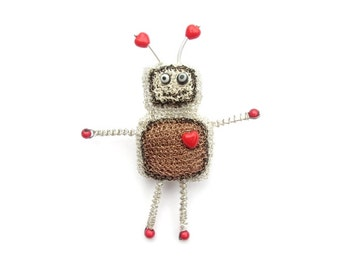 Robot brooch - love brooch, cute jewelry, retro brooch, crochet wire jewelry, geeky accessory, robot jewelry, red and grey, handmade