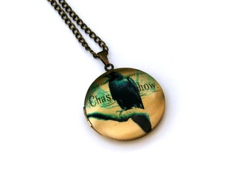 Bird Locket Necklace, Crow Necklace, Woodland