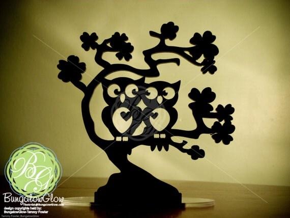 """Owl Wedding Cake Topper, """"Owl Love You Forever"""" Wedding  Keepsake Topper, Owl Art, Mr & Mrs Owl *Original Design*"""
