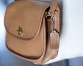 Vintage Coach Mini Tan Brown Leather Cross body Purse