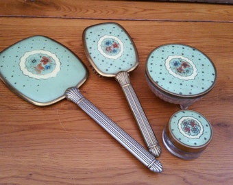 Vintage Sweet Green Dresser Vanity Set Hand Mirror Display Boudoir Photo Prop