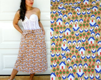 1970s Vintage Kitsch House Print Wrap Skirt with Pockets Houes and Tree Print A Line Skirt Wrap Waist Skirt Size Large