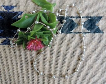 """Tin Cup Necklace,  Fresh Water Pearls , Liquid Silver ,  16"""" Long"""