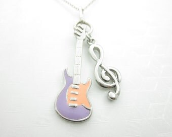 Guitar and Treble Clef Necklace, Music Necklace, Music Notes, Guitar Necklace, Electric Guitar Charm, G Clef Necklace, Music Lover X059
