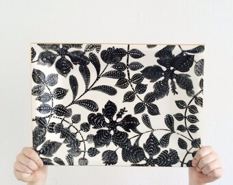 Traditional Floral Toile Tray Handmade Pottery serveware in Black and White