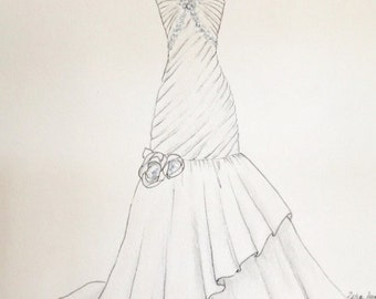 Custom wedding dress sketch, wedding gown bouquet and shoes, paper anniversary, wedding gift, anniversary gift, original dress drawing