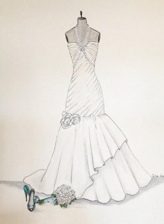 Hochzeits kleid skizze brautstrau kleid und schuhe papier - Kleider zeichnen ...