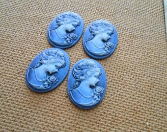 4 vintage blue, light blue and white ladies cameo cabochon - vintage plastic cameo