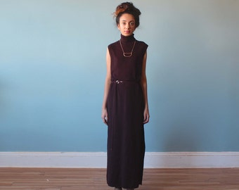 sleeveless ribbed sweater dress / brown turtleneck knit maxi dress / 1990s / small - medium