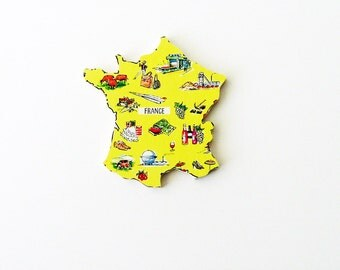 1960s France Brooch - Pin / Unique Wearable History Gift Idea / Upcycled Vintage Hand Cut Wood Jewelry / Timeless Gift Under 50