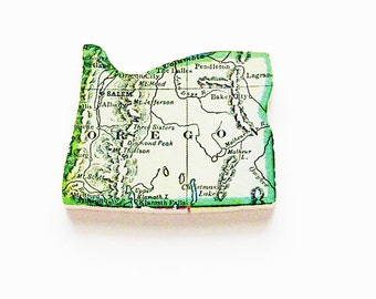 1915 Oregon Brooch - Pin / Unique Wearable History Gift Idea / Upcycled Antique Wood Jewelry / Timeless Gift Under 50