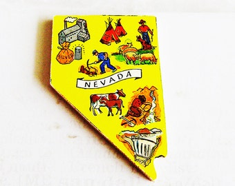 Nevada Brooch - Pin / Unique Wearable History Gift Idea / Upcycled Vintage 1960s Hand Cut Wood Puzzle Piece / Timeless Gift Under 25