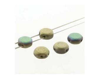 Honeycomb Czech Beads 2 holes 18235 , Glittery Matte Amber (2 strands about 60 beads), 6mm Flat Hexagon Beads, Honey Comb Bead, Preciosa