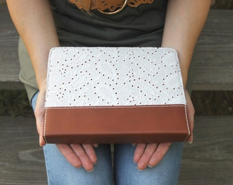 Leather Bible Cover - Eyelet lace - Bible Cover - Custom made
