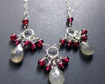 Labradorite Garnet Necklace, Labradorite Necklace, Gemstone Sterling Silver Necklace, Statement Necklace
