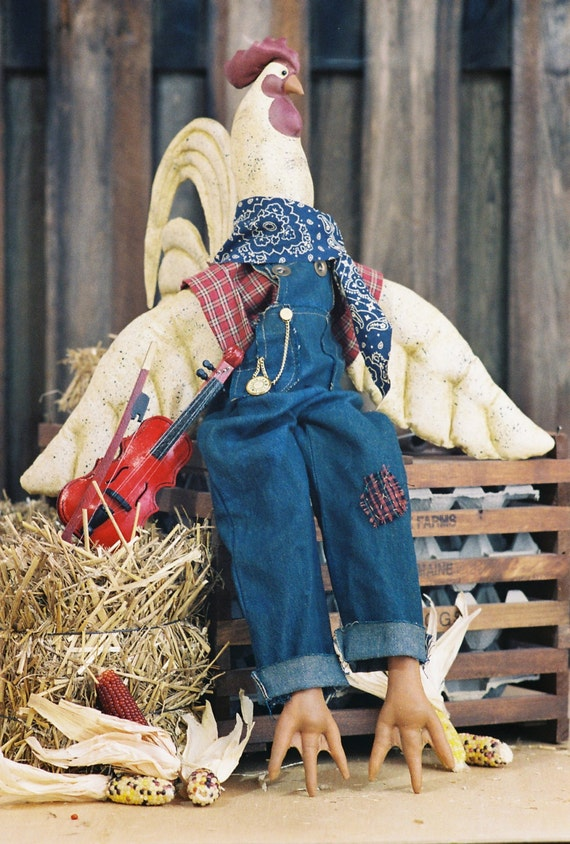 Mailed Cloth Doll Pattern - 27in Country Barnyard Rooster