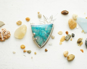 Blue Surfer Surfboard Pendant Necklace, Statement Jewelry Unique Chyrsocolla Quartz, Salt Air Moving Away Anniversary Gift Ocean Water Buoy
