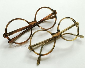 60's French/USA Big Round Tortoise Eyeglasses Grunge Hipster Indie Alternative Eyewear Frames Glasses Made in France