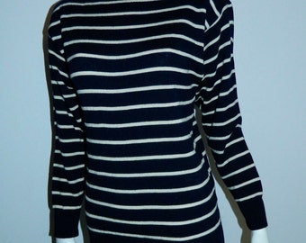 vintage sailor sweater / 1970s blue striped knit / boatneck merino wool Ellen Tracy S - M