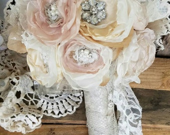 Bridal Brooch Bouquet , Wedding Bouquet, Fabric Flower Bouquet, Burlap bouquet, Champagne, Taupe,Ivory, Shabby Chic Bouquet