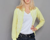 Vintage Cardigan // Yellow Cardigan Sweater with Lace & Pearl Beading // M