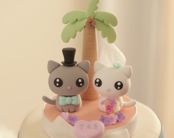 cat and  kitty Wedding Cake Topper---k871