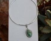 Green Turquoise Bangle Bracelet. Dandelion Wishes. Hammered Sterling Silver Bangle. Boho Stacking Bracelet.