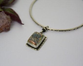 Copper Druzy Bangle Bracelet. Textured Sterling Silver Bangle. Tan Stone Charm Bracelet. Boho Stacking Bracelet.