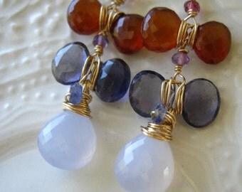 Wire Wrapped Blue Chalcedony Earrings
