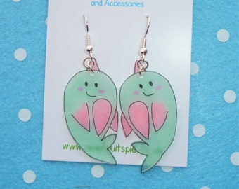 Adorable Magical Narwhal Earrings in Mint and Pink